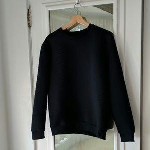 Zara Man Black Quilted Sweatshirt Crewneck